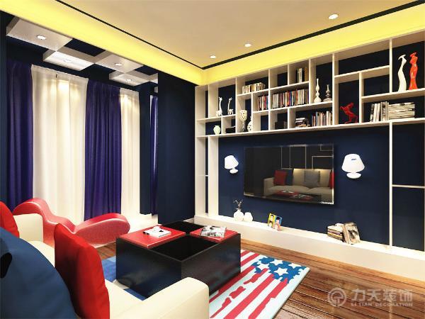 该户型大面积的使用了蓝色、白色和红色,给人一种舒适、安逸、干净的感觉,运用宜家风格的家具,大面积地设置为储物空间,方便业主日后的使用。客厅里的美国国旗的地毯与整体风格浑然天成,起到了很好的点缀作用。