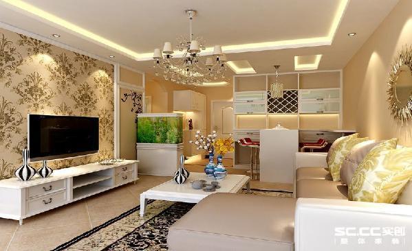 餐厅在此套设计方案中运用了浅色的墙面漆和白色木质的家具,加上吧台式的餐桌,再配以仿古式的地砖,欧式团花的壁纸和地毯让整个空间更有家的温馨、舒适。