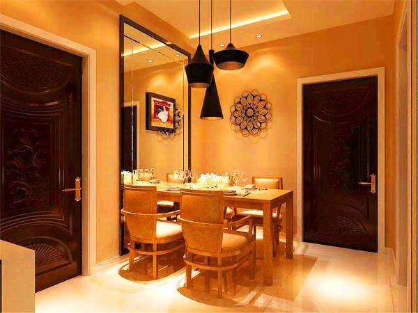 餐厅背景墙面用不锈钢圈边一个车边境,上面挂了一幅色彩鲜艳的装饰画,这样可以示空间颜色具有开放感,不至于色彩更易于单一,使视觉感到乏味,同时镜子还可以拉伸空间,使面积不算大的餐厅显得不至于过于局促。
