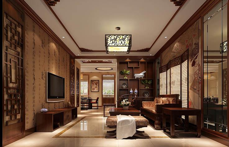 简约中式 三居 装修 室内设计 客厅图片来自张邯在高度国际-山语城的分享