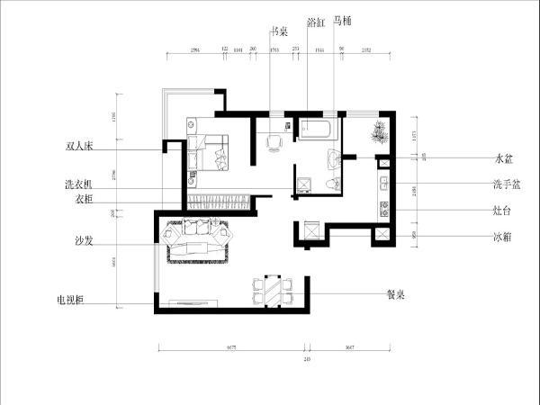 客厅带有窗户,保证了良好的采光与通风性。厨房与客餐厅相连,厨房的面积十分充足,并且带有放置冰箱的凹区,厨房外带阳台,可用于储物,此外也可以当作业主用于休闲的区域。