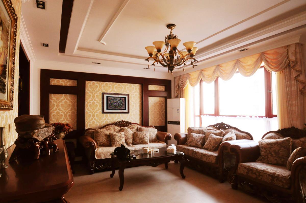 客厅图片来自北京居然元洲装饰小尼在牛驼孔雀城联排别墅美式新古典的分享