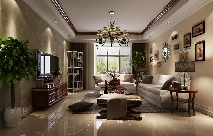简约美式 三居 装修 室内设计 别墅 客厅图片来自张邯在高度国际-润泽公馆5的分享