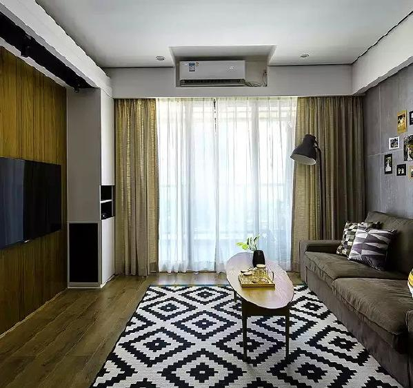 ▲ 木色和黑白色作为整个空间的主题色