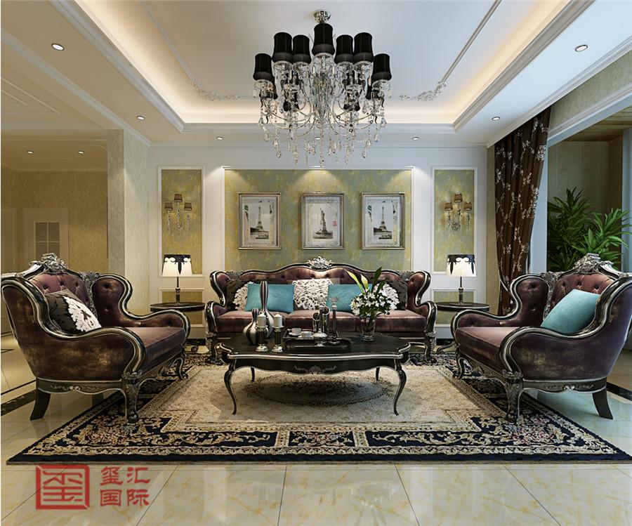 欧式 三室 玺汇国际 东胜紫御府 客厅图片来自河北玺汇国际装饰公司在古典清新179平欧式三室的分享