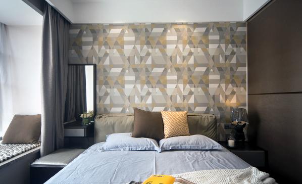 卧室个性的壁纸,也不失卧室的设计亮点
