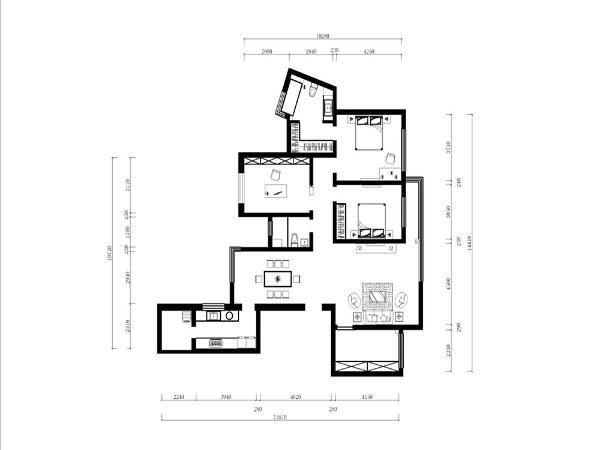 此户型为二厅四室一厨两卫,结构比较规整布局合理,此户型采光通风良好,整体面积为160平方米,房高为2800左右。