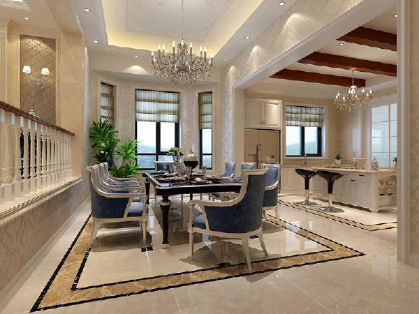 餐厅与厨房是下沉的空间,此处的改动是把餐厅与厨房的墙体拆除,改成一个大的垭口,把原来封闭式的厨房做了一个敞开式的厨房,不仅增强了厨房与餐厅之间的互动又能增加空间感