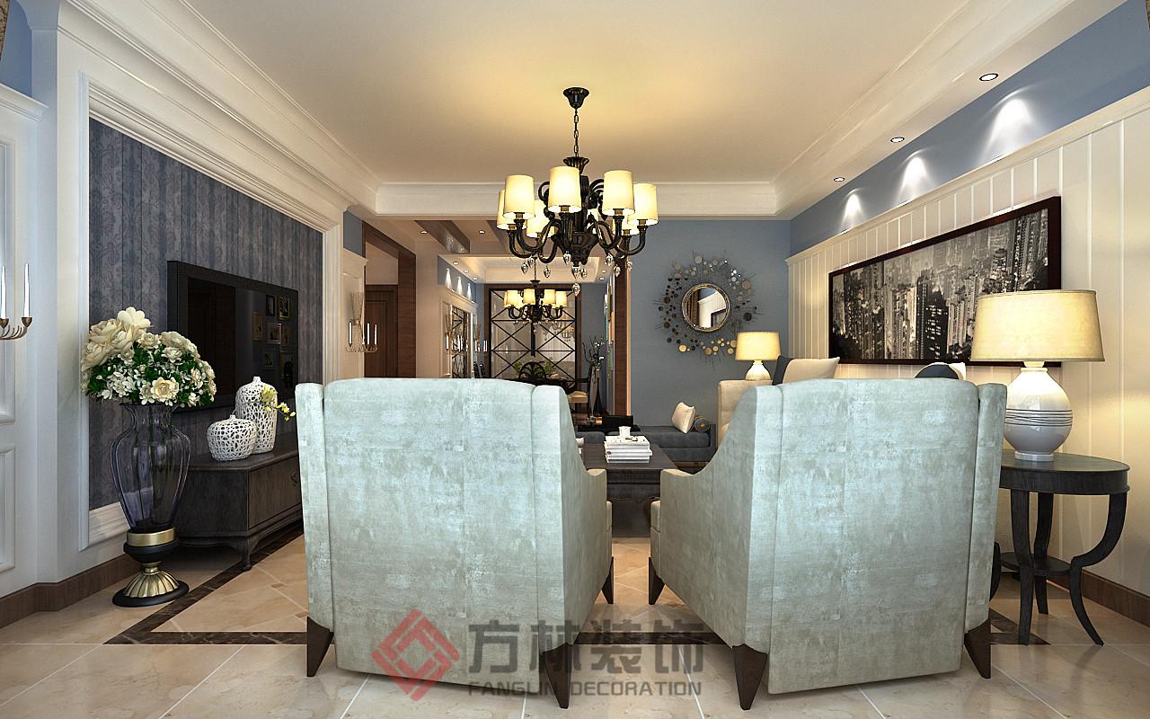 美式 简美 白领 收纳 80后 小资 客厅图片来自方林装饰在府城名邸167平简美风格案例的分享