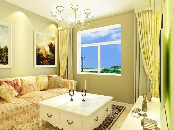 白色的茶几上放着烛台,彰显清新之感。黑色碎花的地毯与沙发的碎花形成对比,给人以视觉的冲击。白色的电视柜,装饰上墙砖状的背景墙,更加突出田园的回归自然之感。