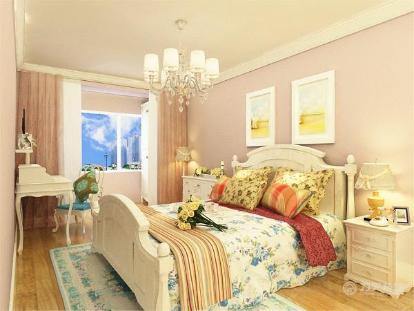 床头背景墙以浅粉色为主,墙面上挂着两幅清新的挂画,给人你回归自认之感。室内也只放置了一张床一个床头柜,一个五斗柜,一个书桌以及衣柜彰显淳朴,简洁之感。地面铺贴木地板,实用美观又防滑。