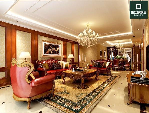 电视背景和沙发背景运用的壁纸,硬包和实木护墙板的搭配,体现美式风格对材质和造型的要求