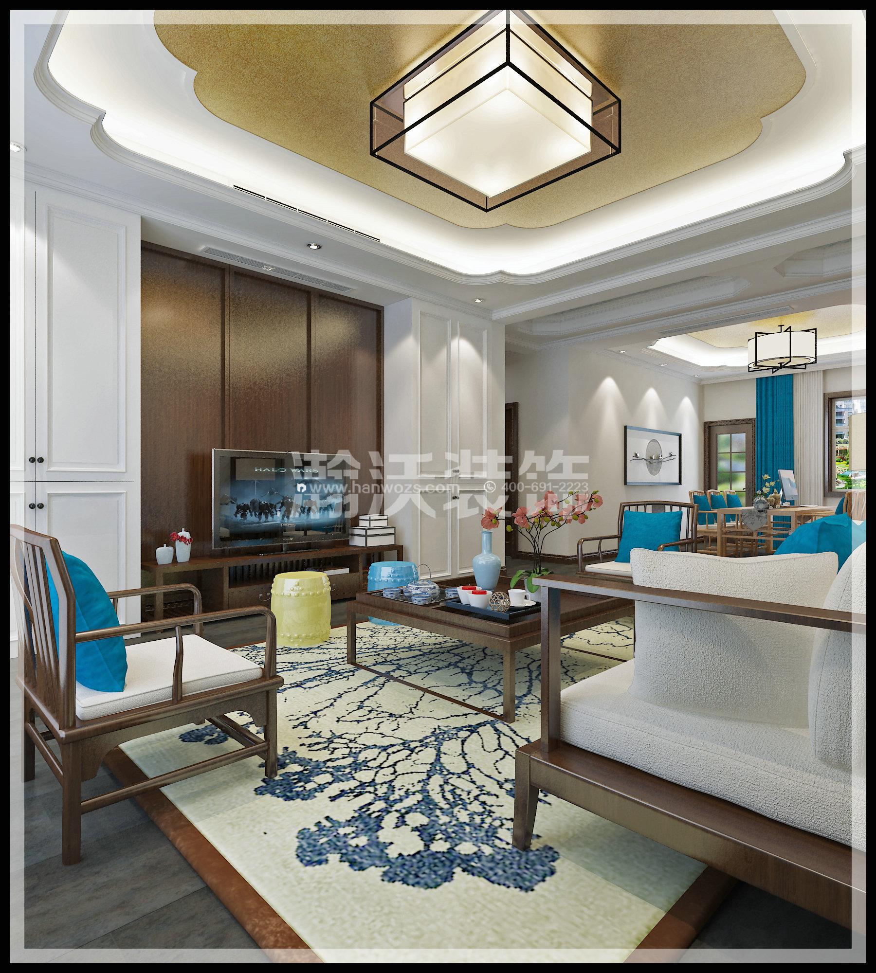 四居 新中式 星河盛世 装修效果图 客厅图片来自河北瀚沃装饰在星河盛世208㎡四居室新中式效果的分享