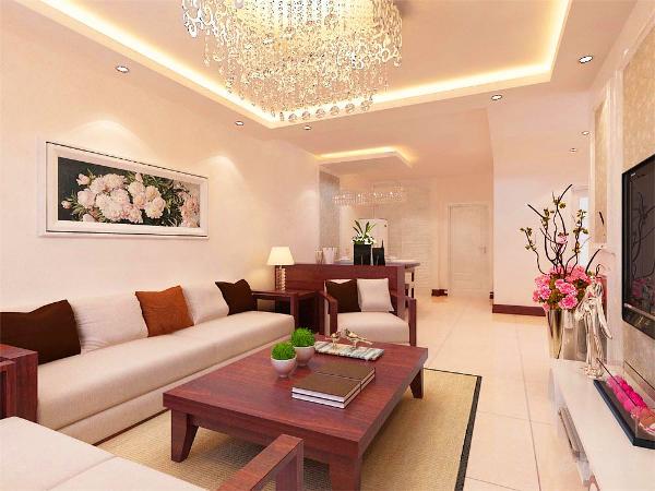 本案以白色乳胶漆的墙体为主,营造一种严肃而宁静感觉。在沙发上的选择上,选择了布艺的白色系的沙发配上单线条木质的框架结构的沙发,即把简约风格表达的琳琳精致也不失一点中式的感觉。