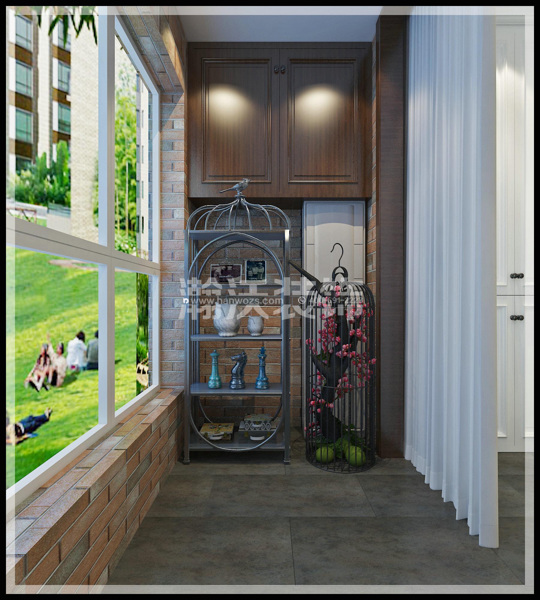 四居 新中式 星河盛世 装修效果图 阳台图片来自河北瀚沃装饰在星河盛世208㎡四居室新中式效果的分享
