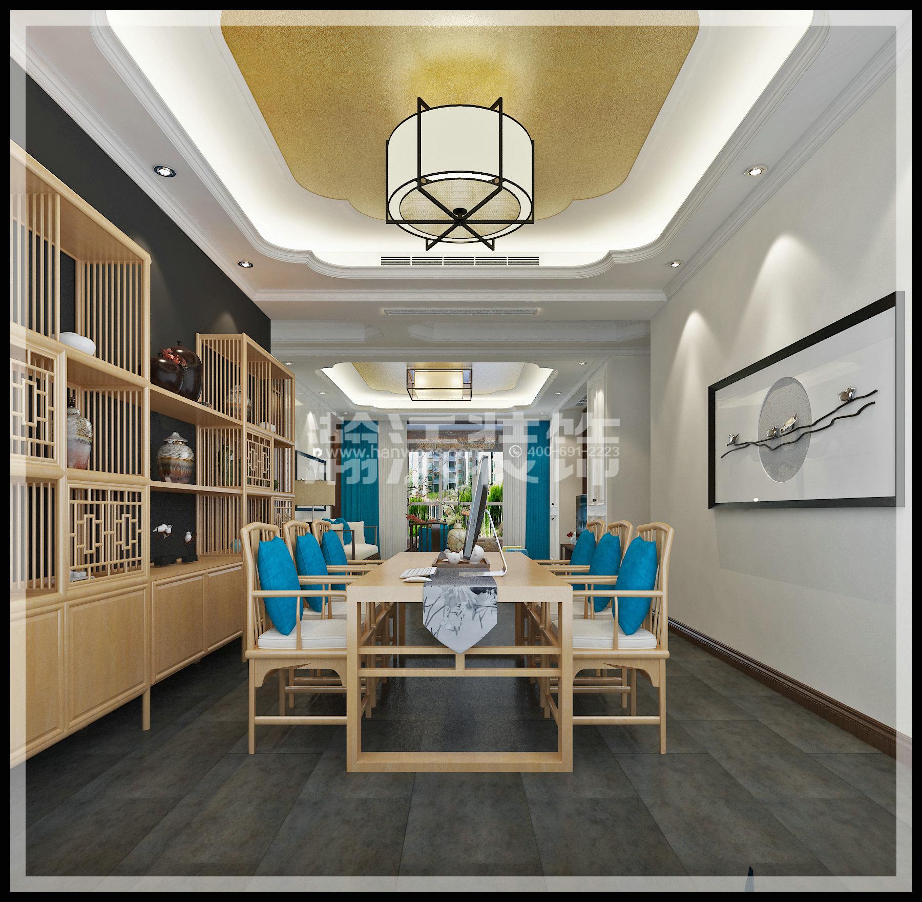 四居 新中式 星河盛世 装修效果图 餐厅图片来自河北瀚沃装饰在星河盛世208㎡四居室新中式效果的分享