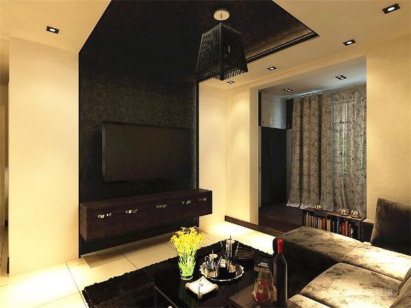 电视墙造型连接到房顶,跟顶面的造型融为一体,阳台起了一个地台,作为一个休闲娱乐空间,沙发采用L型拐角沙发,黑色的沙发跟白色的地砖相搭配,显得十分的稳重和大气。