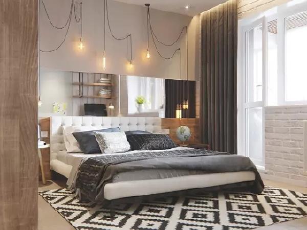 卧室可以说是整个房间的颜值担当,黑白灰与菱格、花纹的搭配运用时尚感十足。 床头的线灯也是酷到没朋友!