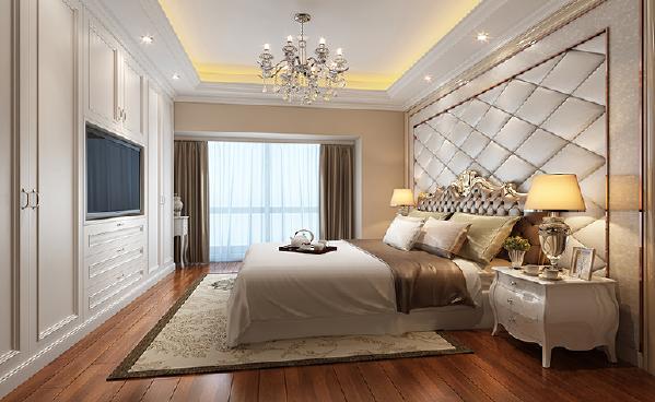 主卧: 房间采用反射式灯光照明和局部灯光照明,置身其中,舒适、温馨的感觉袭人,让那些为生活奔波的人找到了归宿。