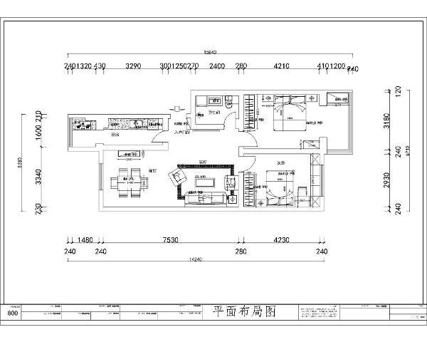 首先从入户进入是整个的起居室区域,起居室区域布局规整,分布明确。接着是卫生间,之后是主卧室和次卧室。厨房位于入户右边。整个空间布局规整,但是也有缺点,起居室的采光不好。卫生间也没有采光。