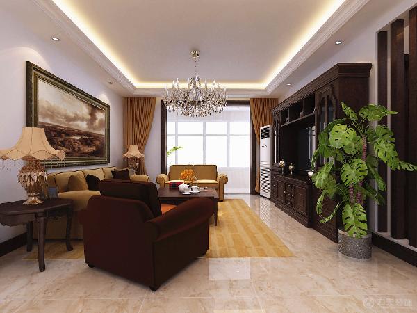 客厅选择了白色,金色,暗红为主色掉,白色作为融合,使色彩看起来明亮,大方,使整个空间明亮大方非凡的气度选择新古典深红色的柜子嵌入电视既省去了电视背景墙的装饰又增加了储物空间,也点亮了新古典风格的主题。