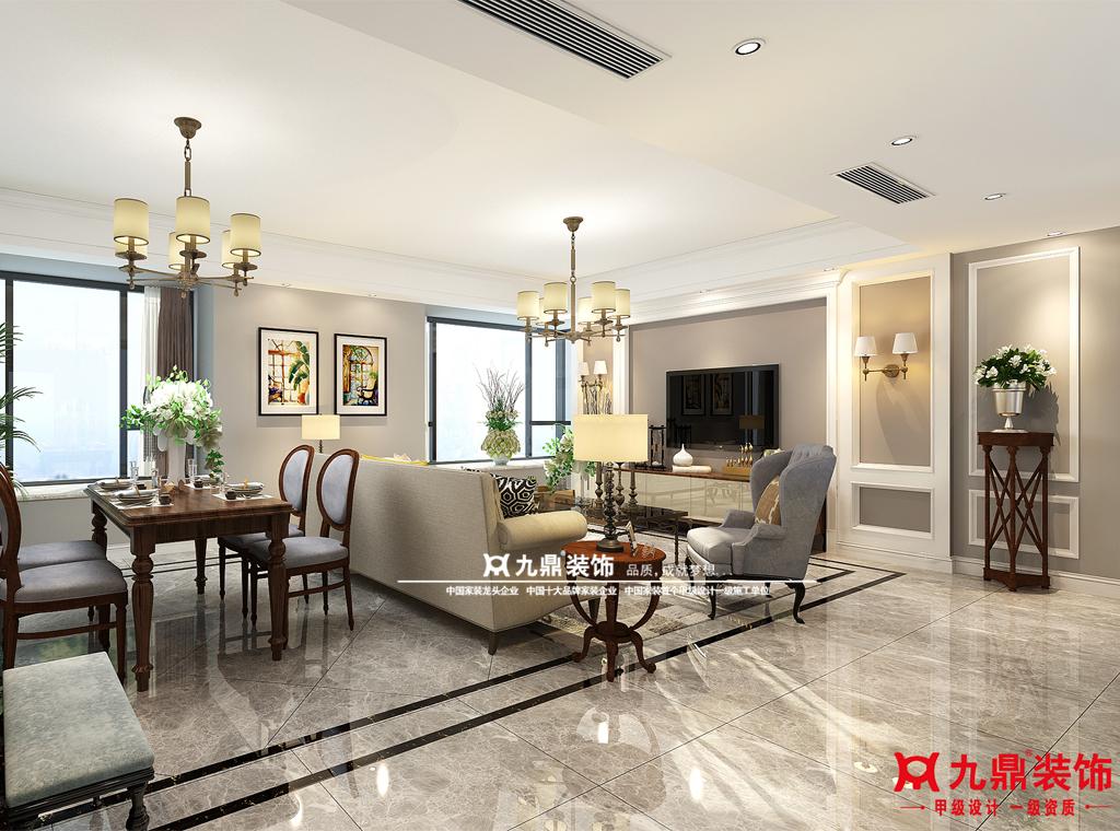 三居 美式 舒适 简单 客厅图片来自九鼎建筑装饰工程有限公司成都分在华润凤凰城的分享