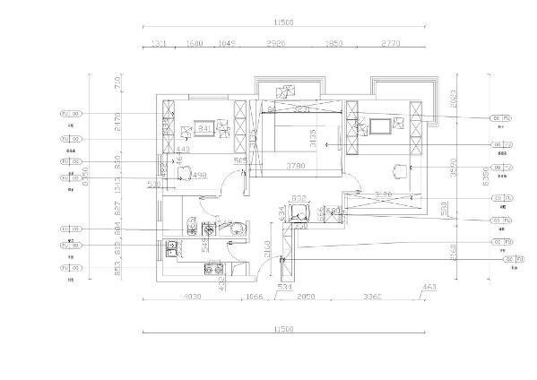 该户型偏方正、规矩,适合设计。进入入户门顺时针旋转,首先看到的是厨房,厨房较长。以L形放置橱柜,增大人的活动空间。厨房有窗户,利于通风排气。挨着厨房是卫生间,卫生间采用干湿分离的方式,干湿分离利于生活