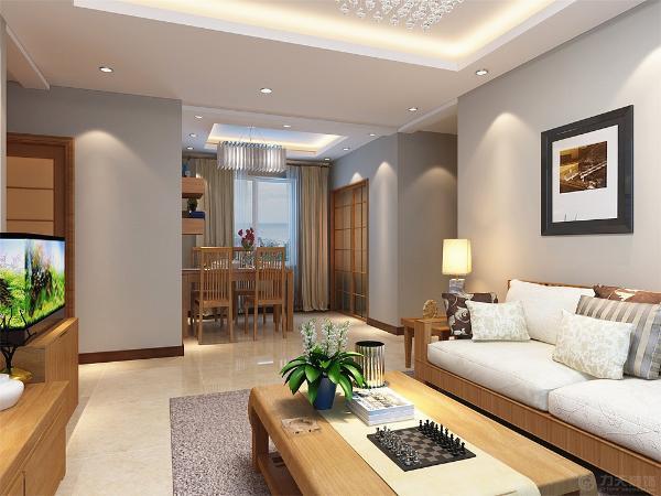 客厅整体采用淡青色的乳胶漆,电视背景墙采用现代竖条纹风格壁纸,使空间有着重点。