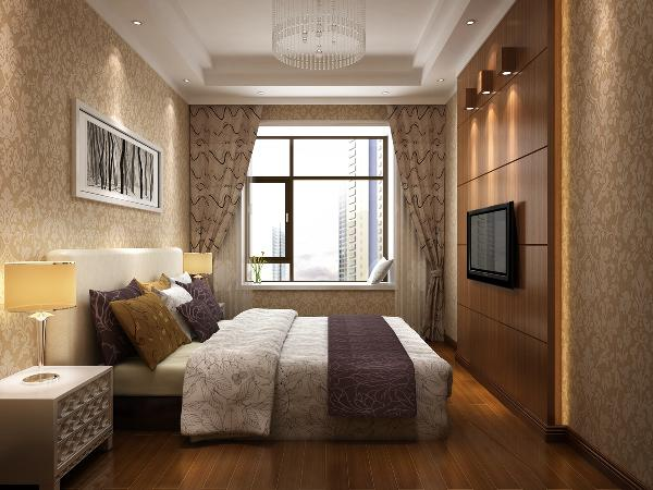 卧室电视墙采用木板与壁纸组合搭配的方式,还有窗帘等软装的配合,使整个空间充满了幸福与温馨。