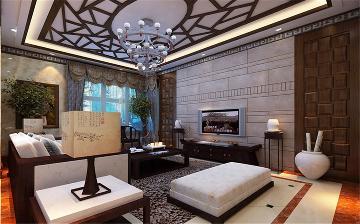 天津梵客家装180平三居室新中式