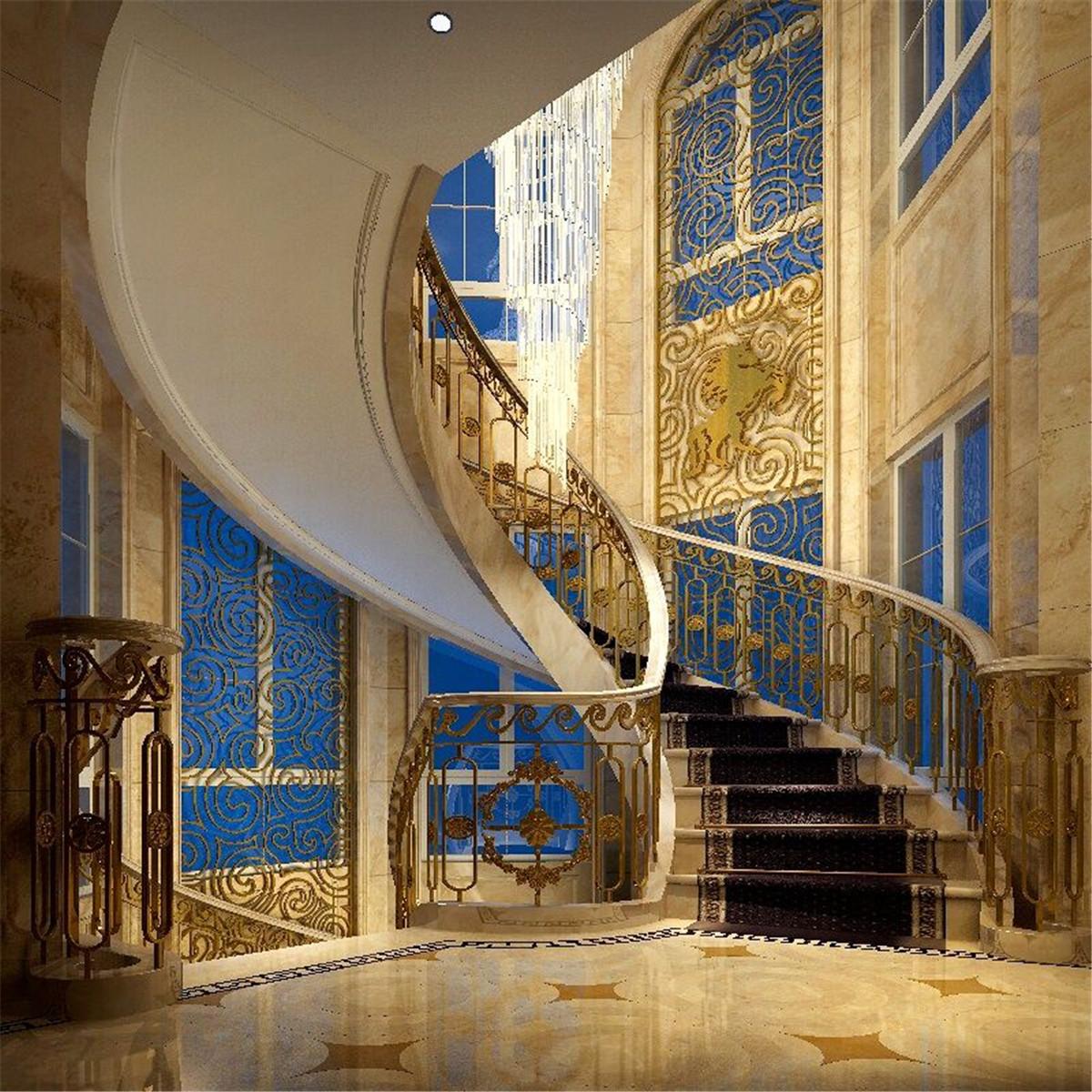 阳光乾城苑 装修设计 欧式古典 腾龙设计 楼梯图片来自室内设计师孔继民在阳光乾城苑别墅装修新古典设计的分享