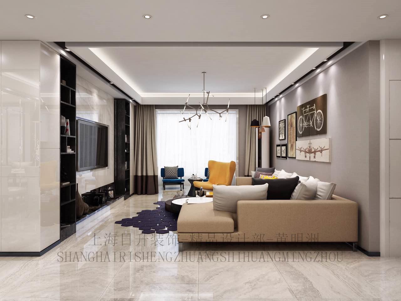 现代简约别 日升装饰 客厅图片来自装修设计芳芳在日升装饰—龙湖花千树280现代的分享