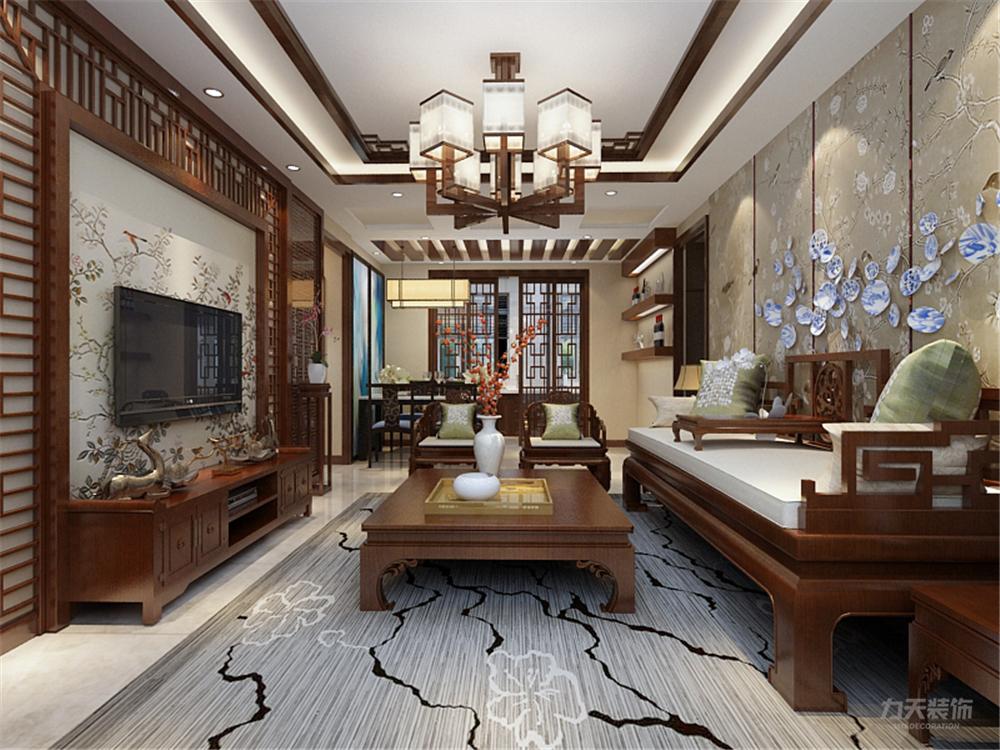 三居 白领 80后 小资 中式 客厅图片来自阳光力天装饰在力天装饰-华侨城 137㎡的分享