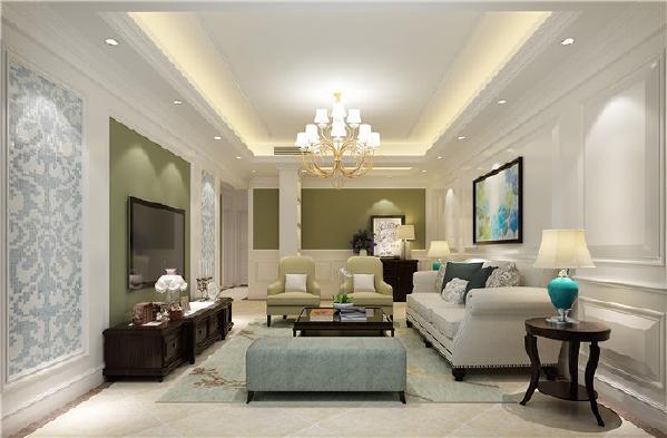 居室色彩主调为温和色,淡色系墙面、天花板、沙发与深色系的茶几、复古的金意陶仿古砖、沙发后背墙纸相得益彰,赋予空间平衡之美 。