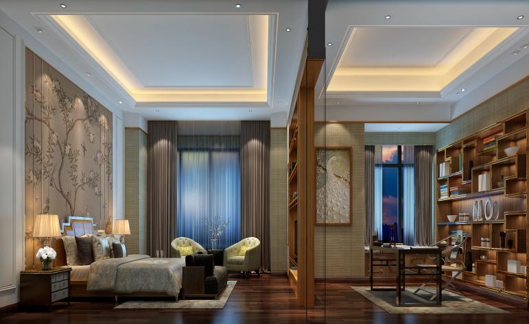 中式 现代 别墅 卧室图片来自居众-姚工在精雕细作,东方神韵的分享