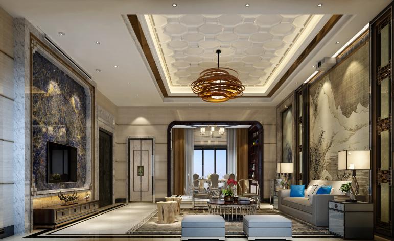 中式 现代 别墅 客厅图片来自居众-姚工在精雕细作,东方神韵的分享