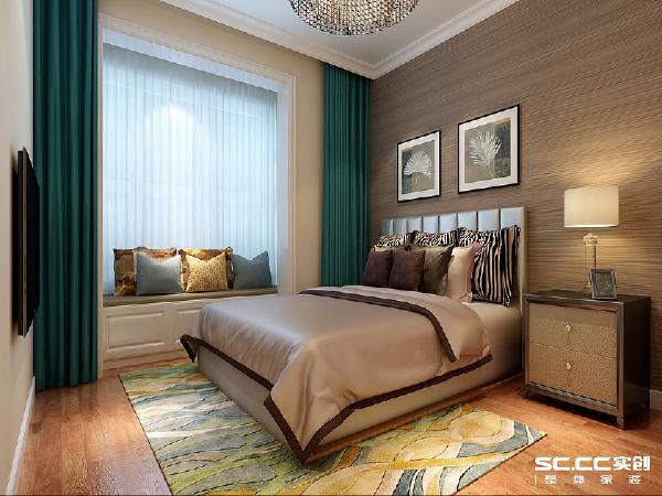 卧室休息的空间在局部的色调用生深咖色的作为背景色,这样色彩会使人安静放松休息的更好,在原结构的有飘窗利用飘窗做休闲区域,在私密的空间里安静的阅读。