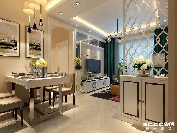门厅空间考虑做玄关柜满足进门换鞋的收纳空间,上方以镂空的方法来解决彩光的问题,电视墙面尺寸有限,采用一些反光面的材质起到拉升空间的作用。