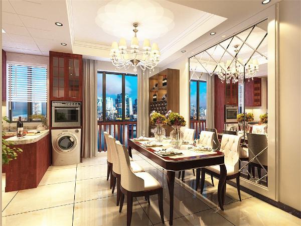餐桌背景墙用了镜子,使空间明亮。客厅电视背景墙运用了大理石加壁纸的造型,而沙发背景墙运用了皮革。增加空间的丰富感。
