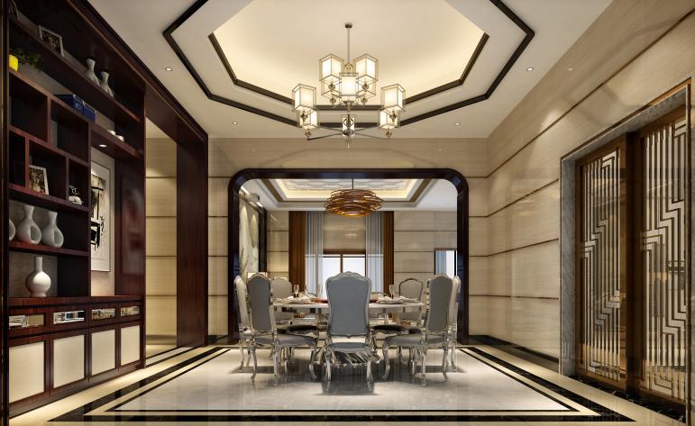 中式 现代 别墅 餐厅图片来自居众-姚工在精雕细作,东方神韵的分享