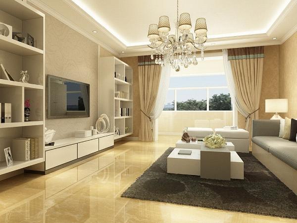 本次的设计风格是简约。客厅做了回字形的吊顶并且配上了两圈角线。墙用的是米黄色的大马士革的壁纸,地面铺的800的米黄色地砖,家具以实木色和白色为主
