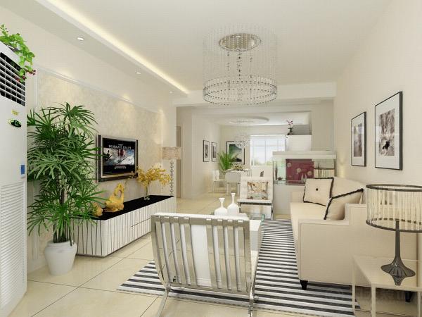 沙发选用了米色的布纹,提升空间温馨色彩,客厅电视背景墙采用石膏板造型模式,中间用上壁纸饰物,美观大方。