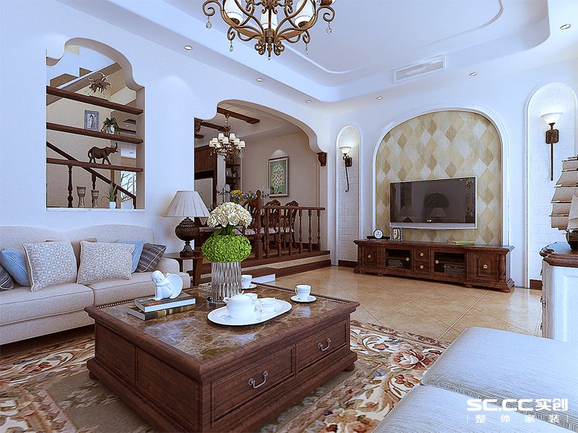 别墅 美式 千禧国际村 装修效果图 客厅图片来自快乐彩在喜山190平别墅美式实创装饰的分享