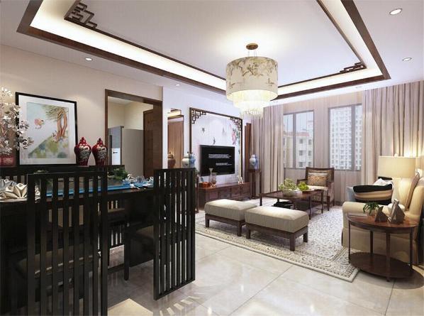 沙发背景墙也同样选择木线装饰,电视背景强用茶镜配合石膏以及整幅中国画壁纸装饰,点名主题。