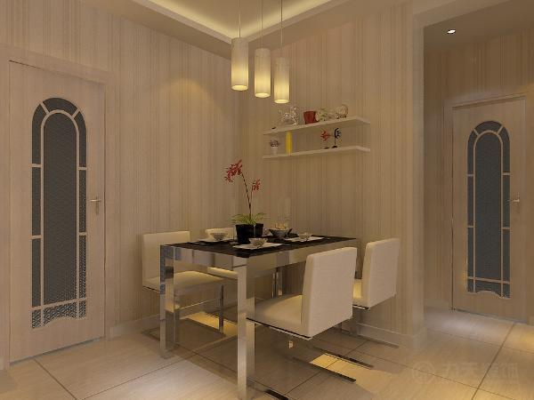 餐桌靠墙上方放展示架,起到修饰作用,在入户处左侧放1米鞋柜,在正对入户处放更衣柜,换鞋凳,更衣镜,地面铺强化复合地板