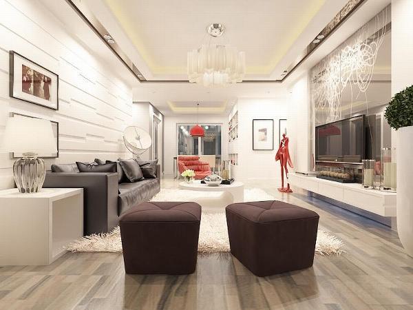 本方案为客厅做了一个简欧式的方形边顶,显得空间更有层次。餐桌的墙上刷白色乳胶漆,并且制作有简欧风格的展示架,显得屋内气氛更有温馨。