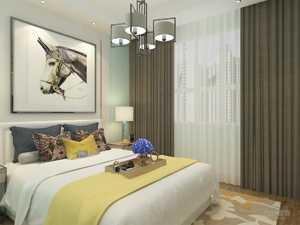 卧室选材上也多选取舒适、柔性、温馨的设计风格,没有过多的装饰,但整体蓝绿色的乳胶漆让主人即使在夏季视觉上也会有清凉的感觉,床头的装饰挂画整体与床上饰品相呼应,以达到整体统一的效果。
