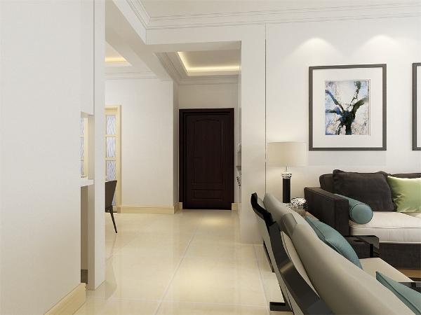 从入户门的角落里放置了一个混油白色的柜子,置物架放有椅柜既能储物又能方便业主出入换鞋,家具色调主干净清爽微暖。