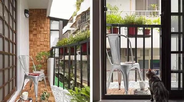 ▲ 阳台采用仿古木和鹅卵石铺就,挂满了绿植,主人和猫都很喜爱的小空间