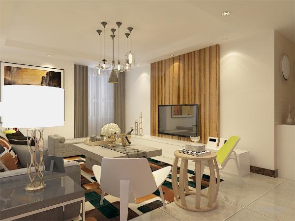 客厅墙面大部分选用的环保白色乳胶漆,电视的后面用通顶的木板做的造型,又显得不那么单调,黄色的抱枕以及彩色线条的地毯,使整个空间感觉更加活泼。